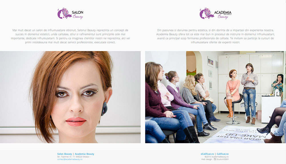 Home page excerpt for beauty salon in Brasov