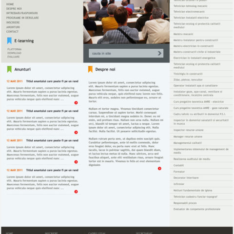 Content page for educational website
