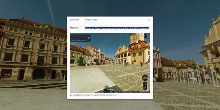 Embedding Google Streetview 360 images